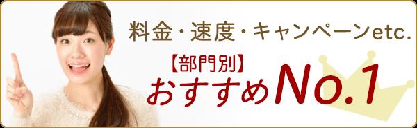 料金・速度・キャンペーンなど部門別おすすめナンバーワン!
